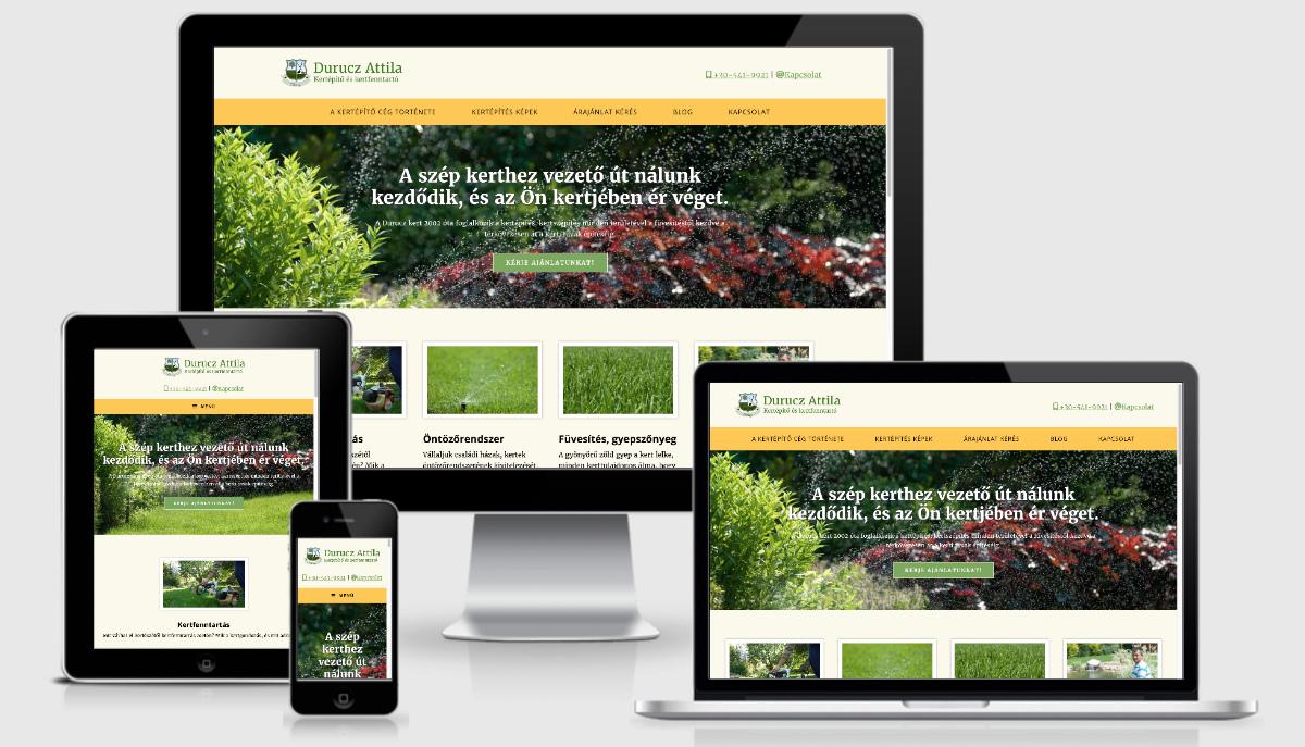 A kertépítő új honlapja reszponzív